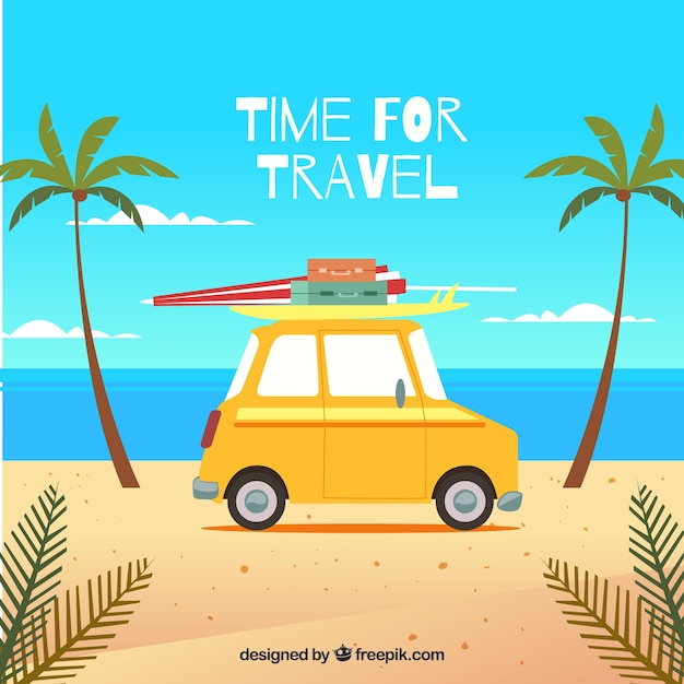 Background with a yellow car Free Vector