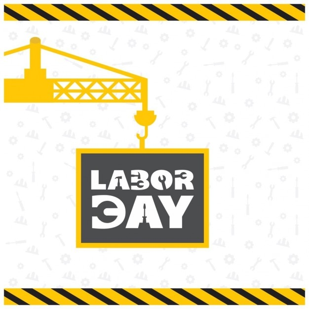 Background with a yellow crane for labor\ day