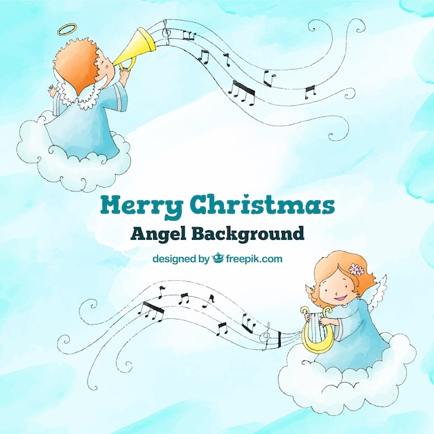 Background with angels playing christmas music Free Vector