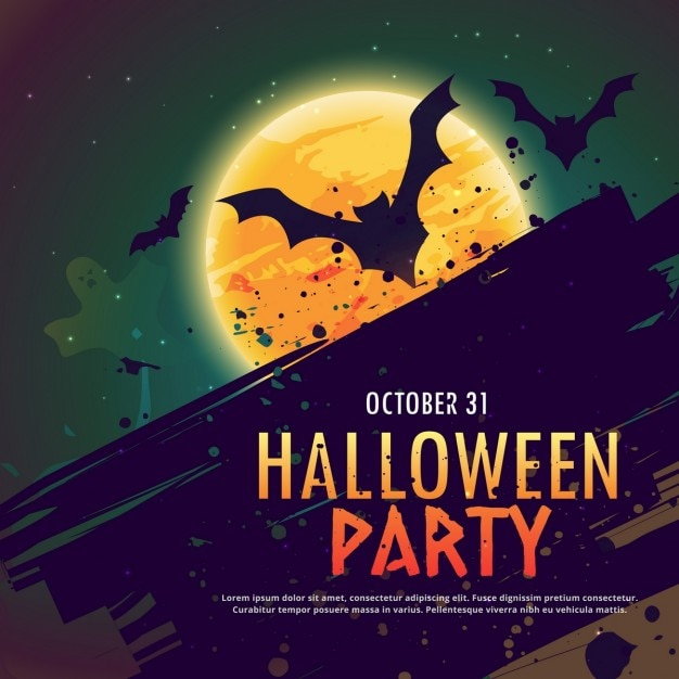 Background with bats on a full moon for halloween Free Vector