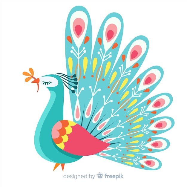 Background with beautiful peacock Free Vector