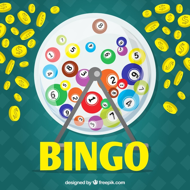 Background with bingo balls and coins Free Vector