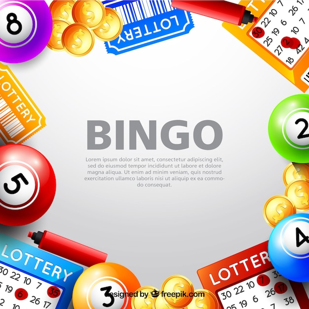 background with bingo elements vector free download