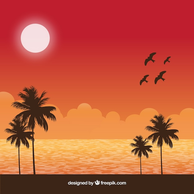 Background with birds and summer landscape Free Vector