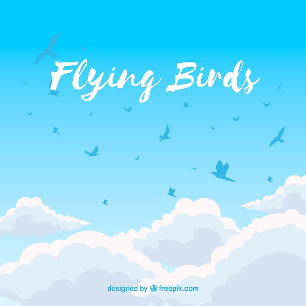 Background with birds above clouds Free Vector