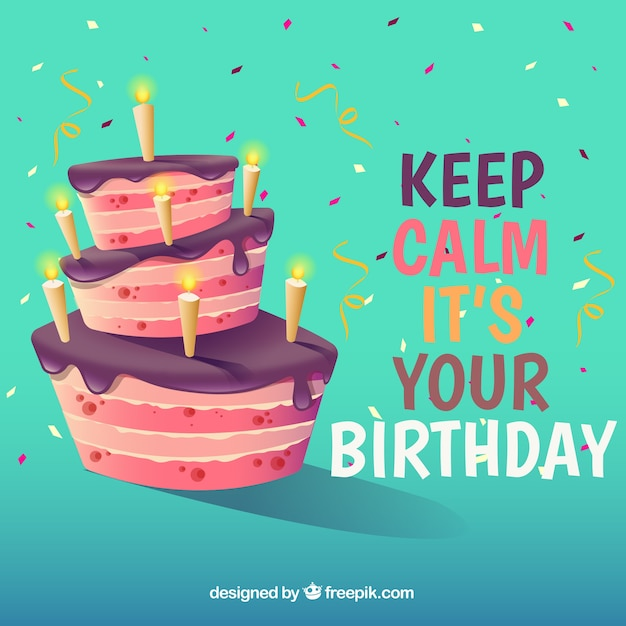 Background with birthday cake and quote Free Vector