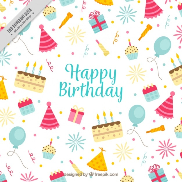 Background with birthday elements Free Vector