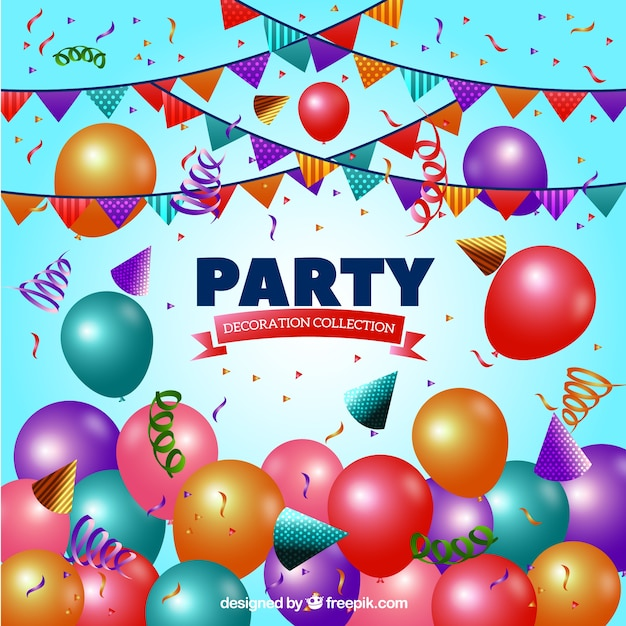 Background With Birthday Party Elements Vector