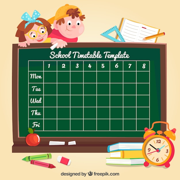 Background with blackboard school schedule
