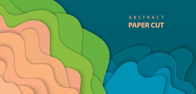 Background with blue, green and beige paper cut Premium Vector