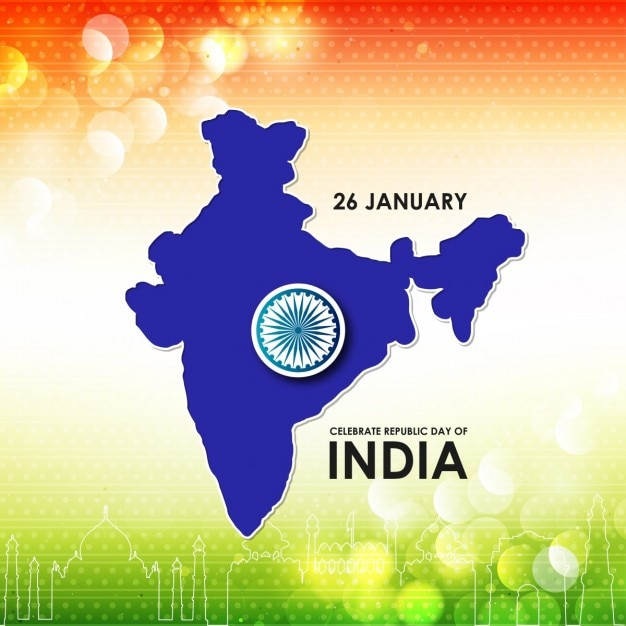 Background With A Blue Map Republic Day Of India Vector Free Download