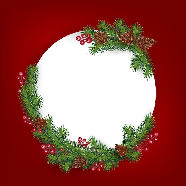 Background with border of realistic looking christmas tree branches decorated Premium Vector