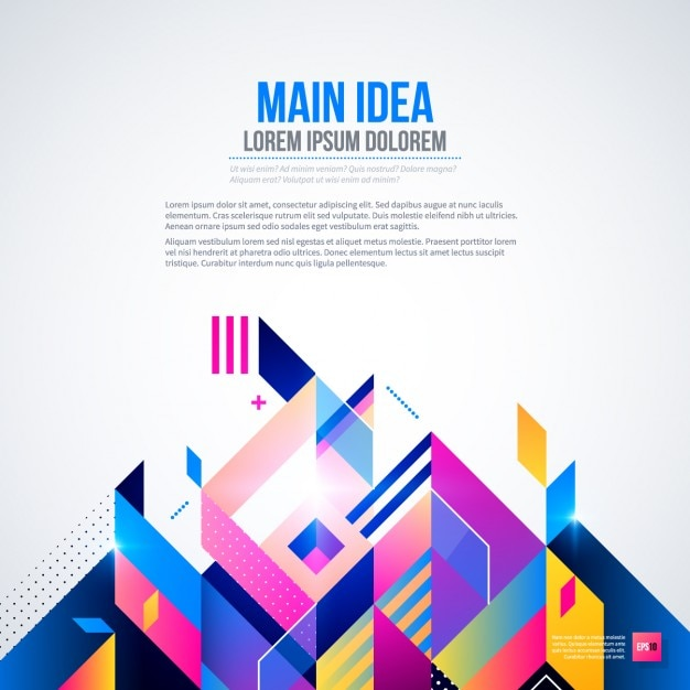 Background with bright colors and geometric style Free Vector