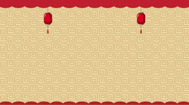 Background with brown chinese patterns Free Vector
