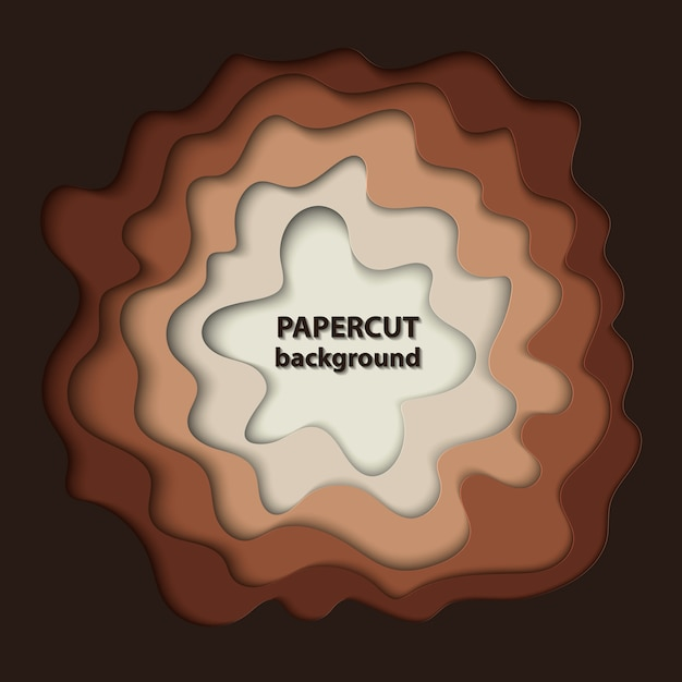 Background with brown paper cut shapes Premium Vector