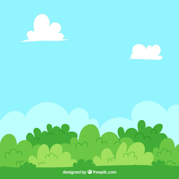 Background with bushes in green tones Free Vector