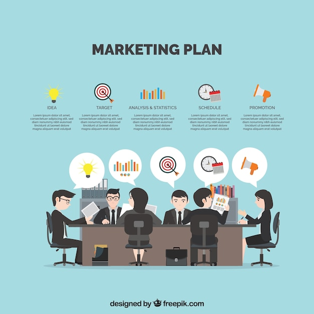 Background with businesspeople planning a marketing strategy Free Vector