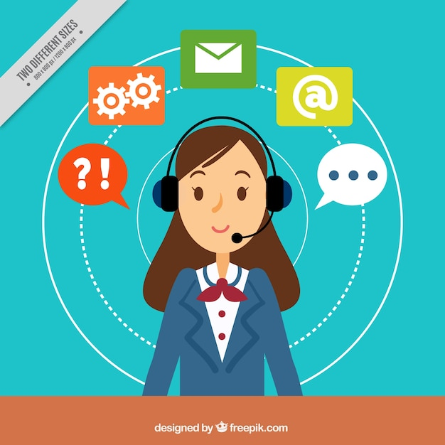 Background with callcenter girl Free Vector
