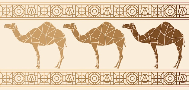 Background with camels Premium Vector