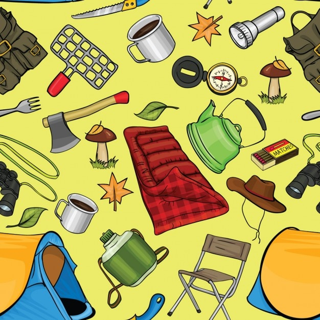 Background with camping elements
