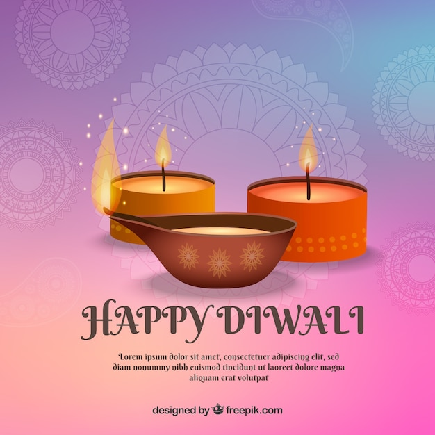 Background with candles for celebration of diwali Free Vector