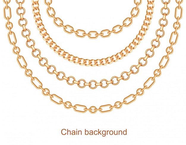 Background with chains golden metallic necklace Premium Vector