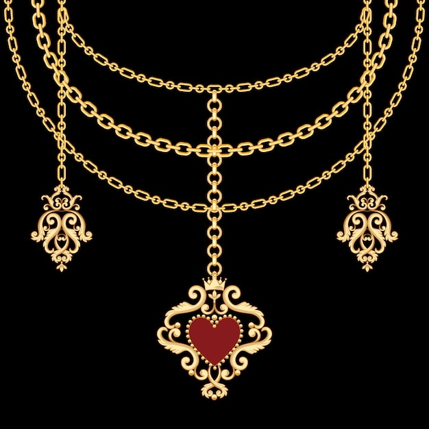 Background with chains golden metallic necklace Premium Vector