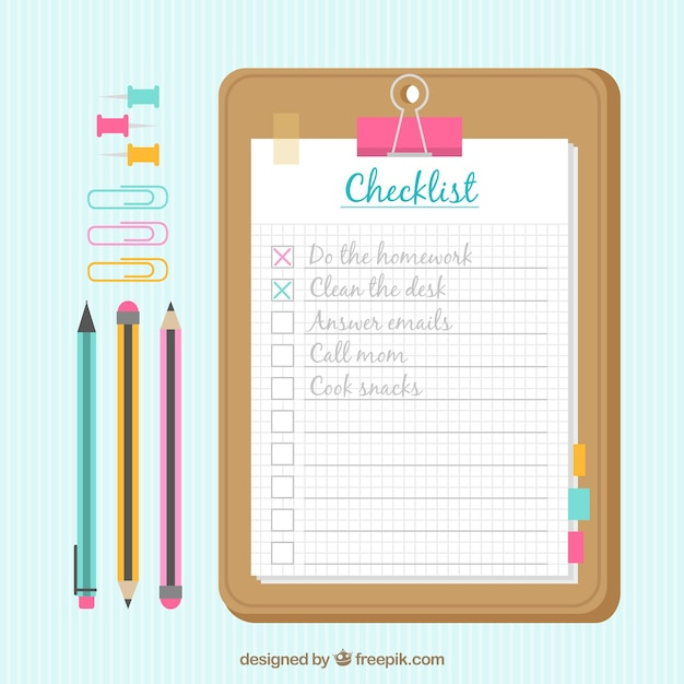 Background with checklist and office supplies Vector | Free Download