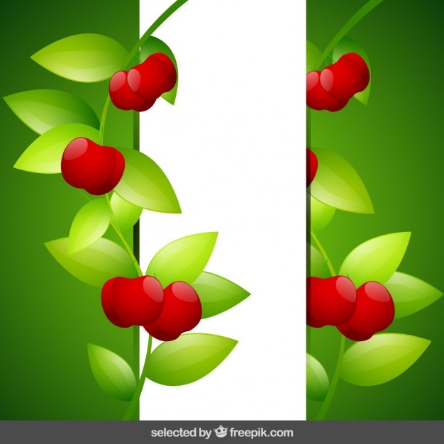 Background with cherries Free Vector