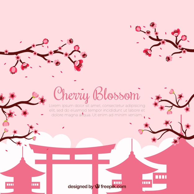 Background with cherry blossom in flat design Free Vector