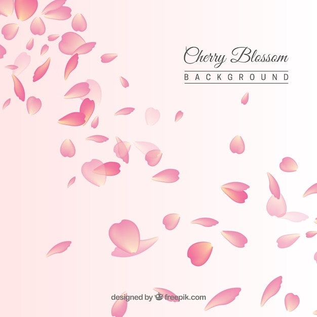 Background with cherry blossom petals Free Vector