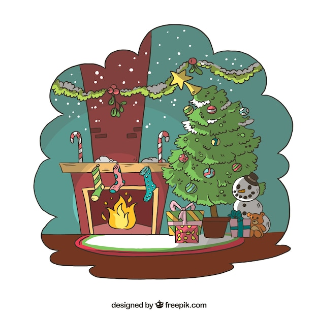 Download Vector Living Room Background With Christmas Tree