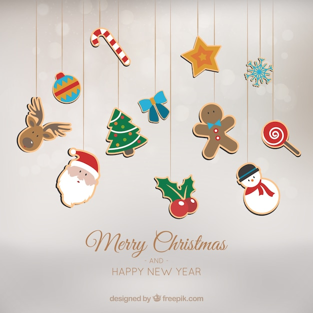 Background With Christmas Ornaments Hanging Free Vector