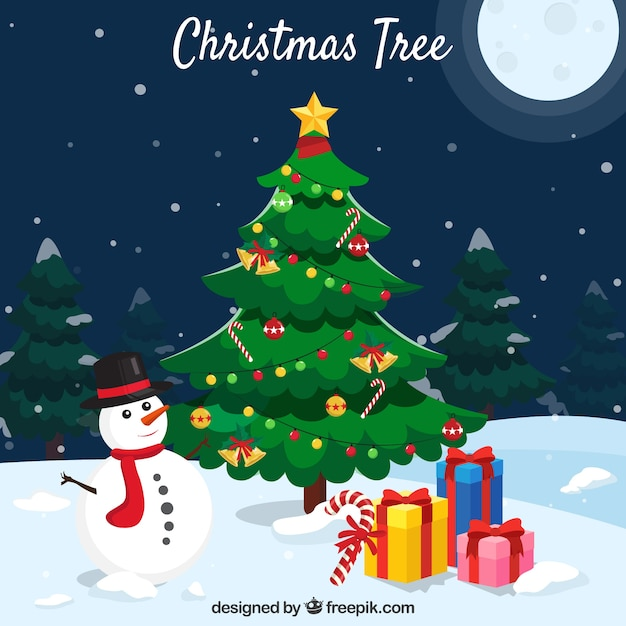 Background With A Christmas Tree Snowman And Presents