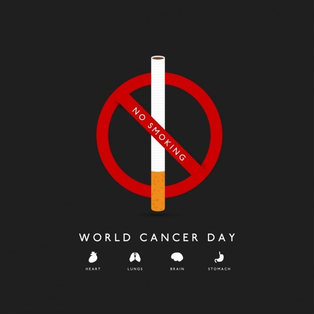 Background with a cigar for world cancer day Free Vector