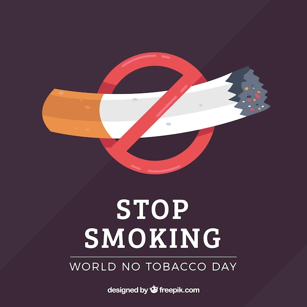 Background with cigarette and prohibition symbol Free Vector