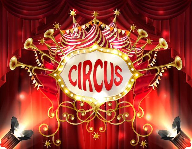Background with circus signboard illuminated with spotlights and red curtains, golden trumpet Free Vector