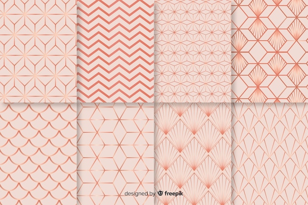 Background with collorful pattern collection Premium Vector