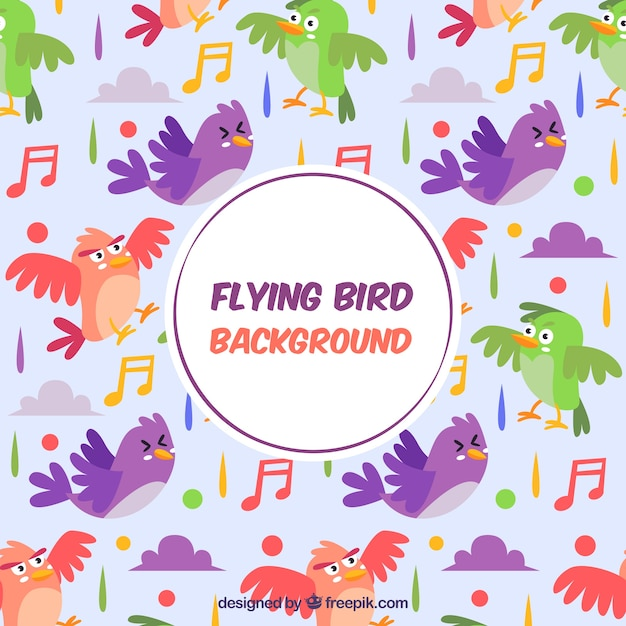 Background with colorful bird pattern