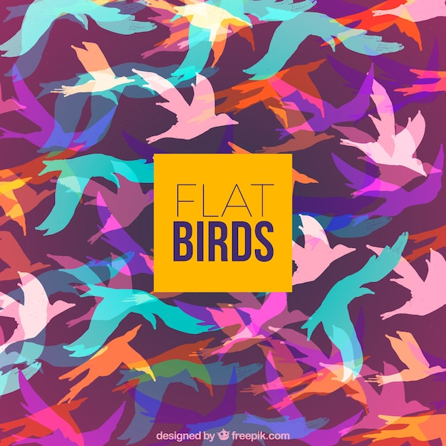 Background with colorful bird\ silhouettes