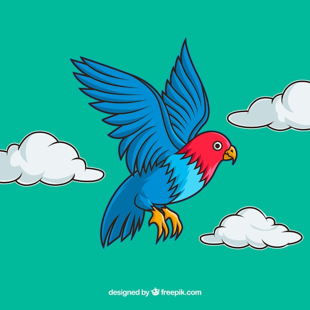 Background with colorful flying bird