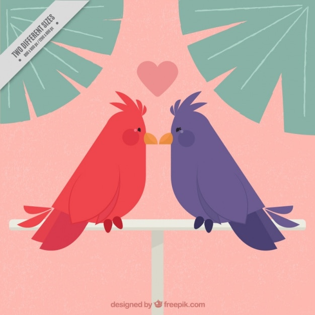 Background with colorful loving birds