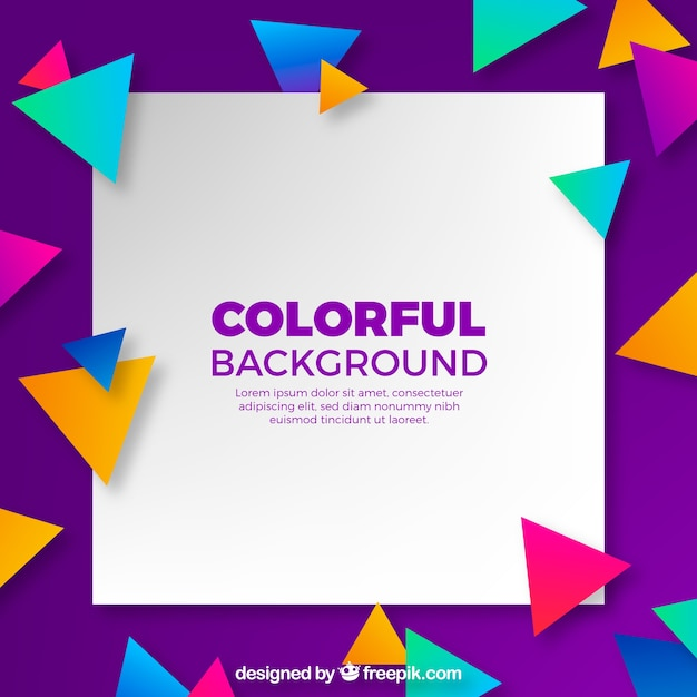 Background with colorful triangles Free Vector