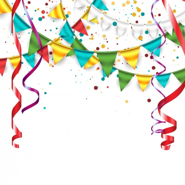 Background with confetti, garlands and bunting Free Vector