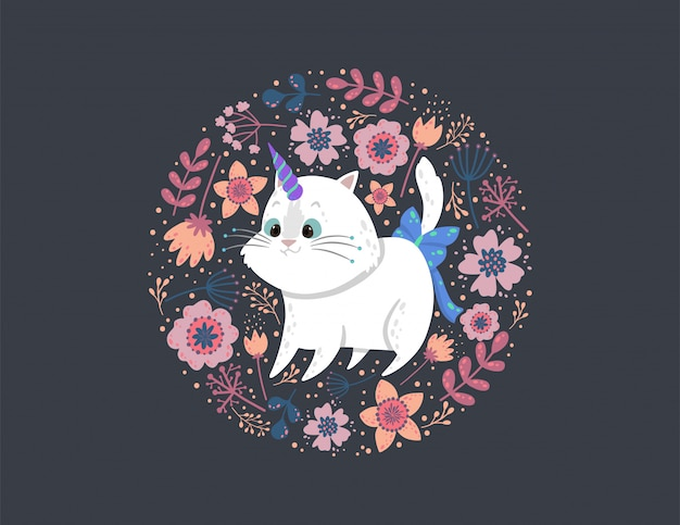 Background with a cute cat unicorn, leaves, and flowers. Premium Vector