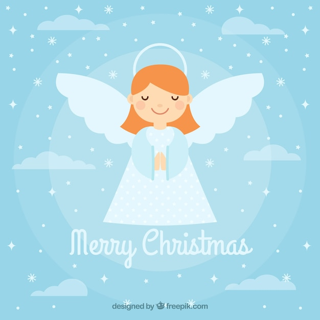 Background with a cute christmas angel Free Vector