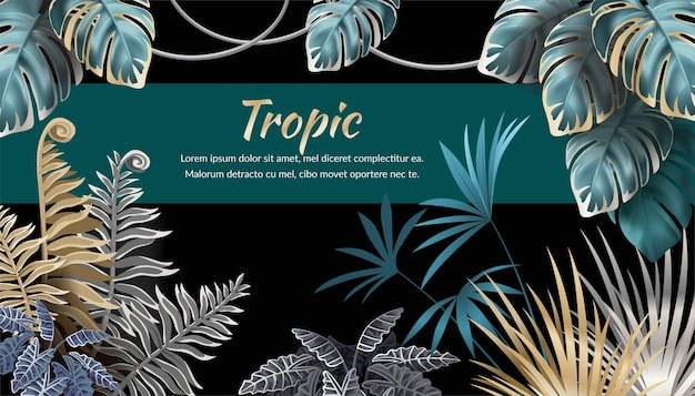 Background with dark leaves palms and lianas, sample text Free Vector