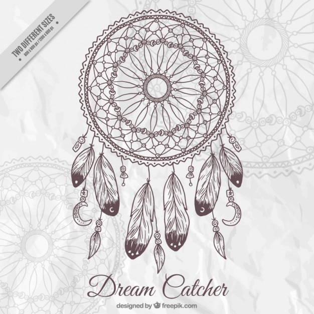 Background with a decorative hand drawn dream catcher Free Vector