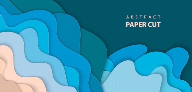Background with deep blue and beige paper cut Premium Vector