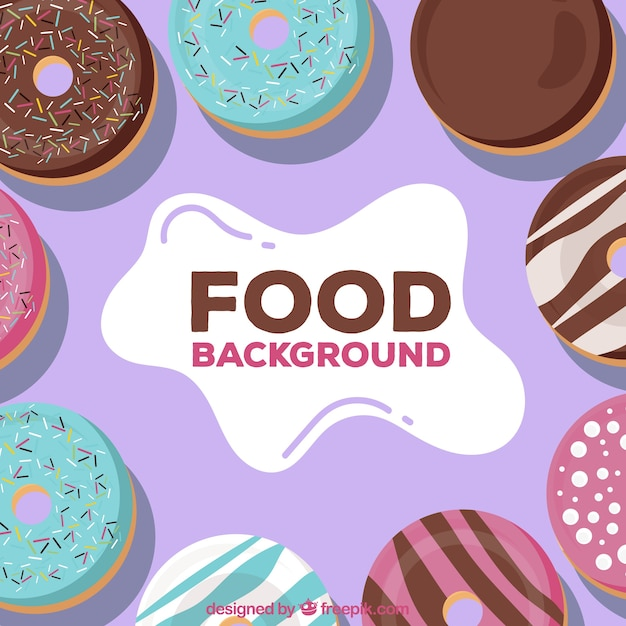 Background with delicious donuts Free Vector